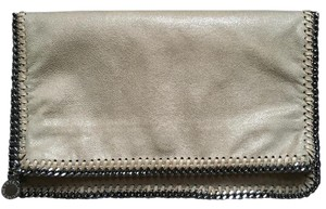 Stella McCartney Whipstitching Fold-over Faux Leather beige Clutch