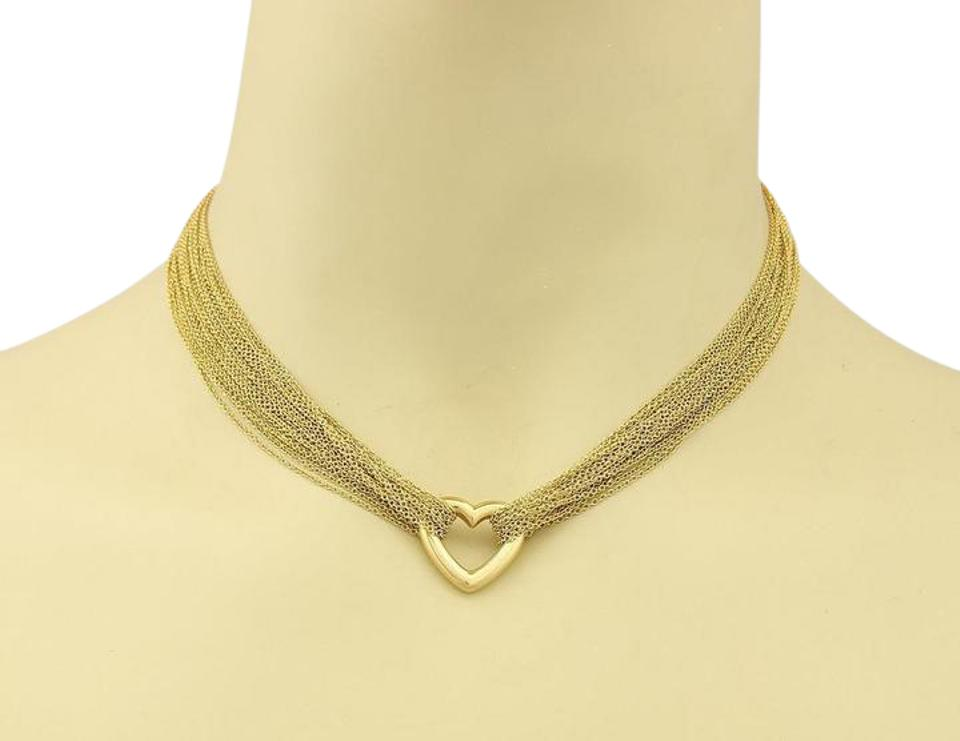 6c6de9634 Tiffany & Co. Multi-Strand Open Heart Pendant 18k Yellow Gold Toggle  Necklace Image ...