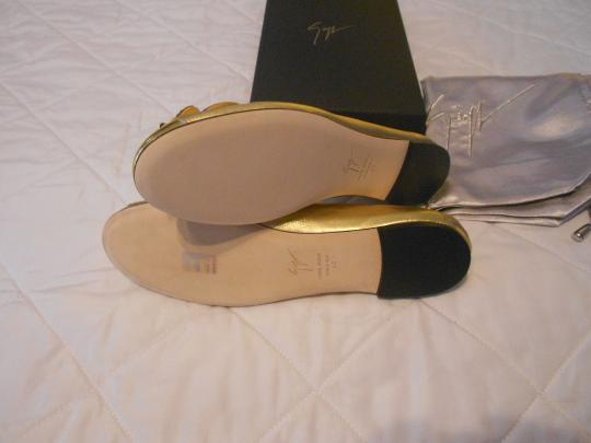 Giuseppe Zanotti Sophisticated Design Metallic Wing Design Made In Italy Gold Flats