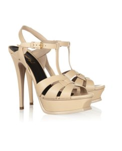 Saint Laurent Ysl Tribute Sandal Beige Platforms