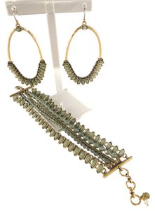 Lucky Brand New Lucky Brand Gold-Toned Mint Green Drama Dangle Hoop Drop Earrings & Matching Multi-Strand Bracelet Set