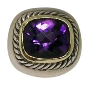David Yurman amethyst sterling silver, 14k yellow gold designer ring