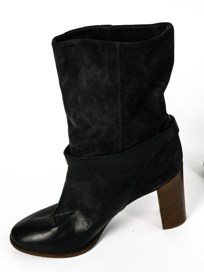 Vince Leather Suede Ankle Wide Ankle black Boots