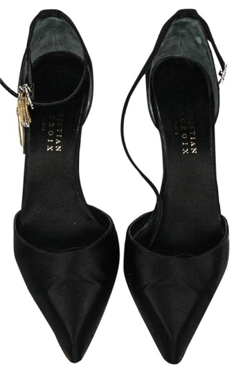 Preload https://img-static.tradesy.com/item/21541879/christian-lacroix-black-satin-high-heel-with-diamond-buckle-and-gold-and-silver-chain-pumps-size-us-0-1-540-540.jpg