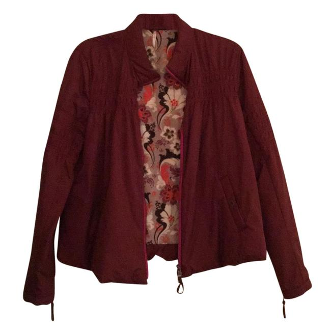 Item - Maroon with Floral Print Lining and Pink Detailing Jacket Size 4 (S)