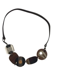 Marni Marni Lucite, Leather, and Wood Necklace