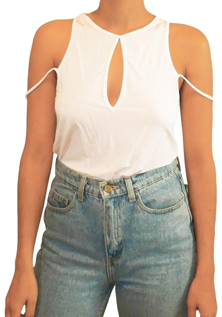 Preload https://item1.tradesy.com/images/white-with-double-shoulder-bands-night-out-top-size-10-m-21542040-0-3.jpg?width=400&height=650