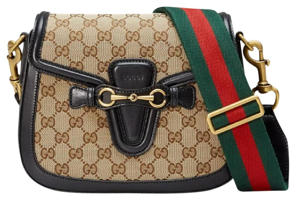 b12444e55cb2 Gucci Shoulder Lady Web Medium Gg Black and Brown Canvas with ...