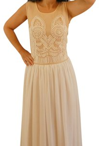 white/beige Maxi Dress by Mon Cher Maxi Dress, Size S (fit XS-S)