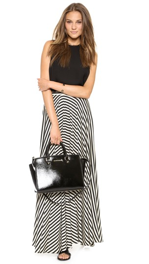 Michael Kors Collection Patent Leather Patent Modern Classic Satchel in Black