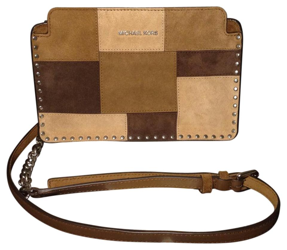 a99a8677d9f684 Michael Kors Astor Patchwork Brown/Caramel Suede Leather Cross Body ...