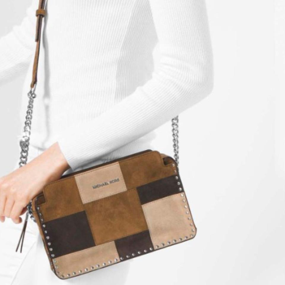 5e304db677647f Michael Kors Astor Patchwork Brown/Caramel Suede Leather Cross Body Bag -  Tradesy