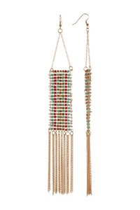Free Press Free Press Delicate Bead Fringe Trapeze Earrings