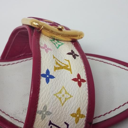 Louis Vuitton Gold Hardware Lv Monogram Peep Toe Monogram Lv White, Pink, Multicolor Sandals