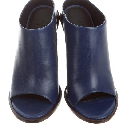 Tibi blue, brown Mules