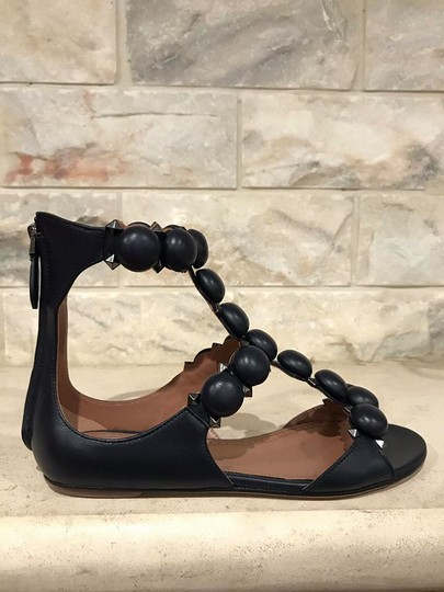 ALAA Bombe Spike Studded Gladiator Strappy blue Sandals