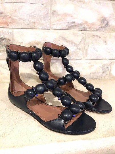ALAA Bombe Studded Spike Ankle Strap Leather blue Sandals