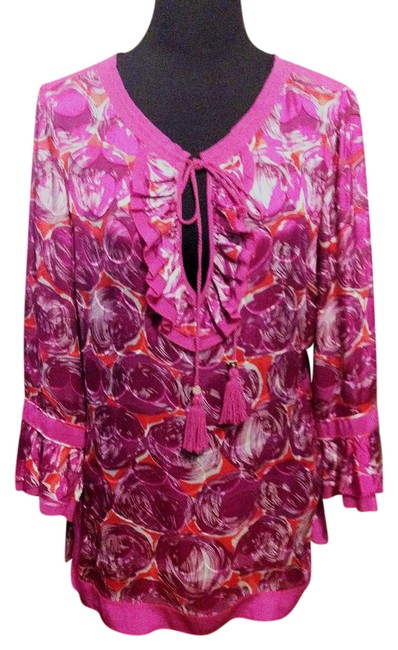 Preload https://img-static.tradesy.com/item/21542859/tory-burch-pink-red-white-silk-and-rayon-tunic-size-8-m-0-5-650-650.jpg