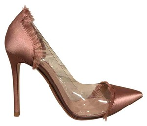 Gianvito Rossi Plexi Plastic Clear Stiletto Satin nude Pumps