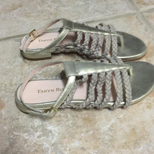 Taryn Rose Leather Gold Sandals