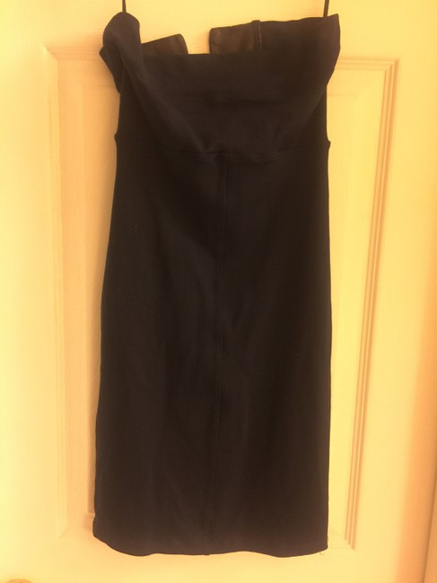 David Lerner Black Leather Stretchy Night Out Lambskin Dress