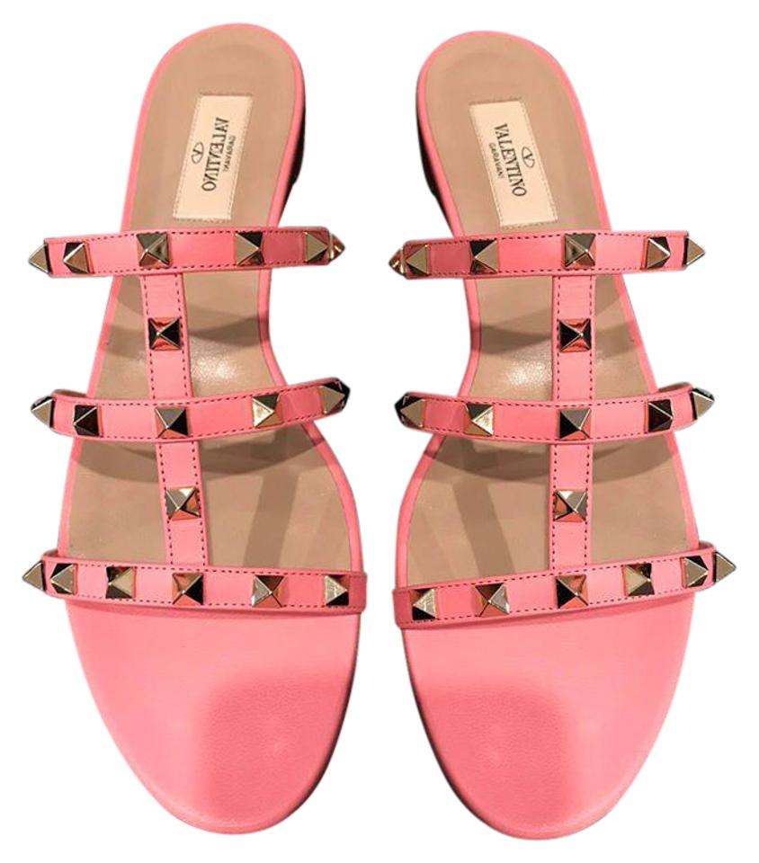 9d7a5a011a95e7 Valentino Pink Rockstud Paradise Leather Gladiator Slide Flat 41 Sandals