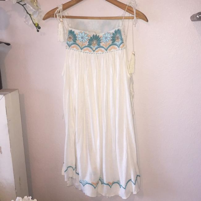Free People Top white and blue