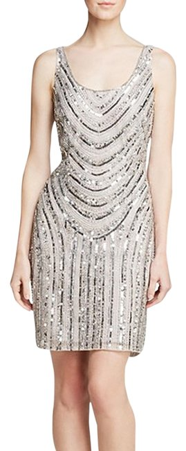 Adrianna Papell Mesh Sequin Beaded Dress