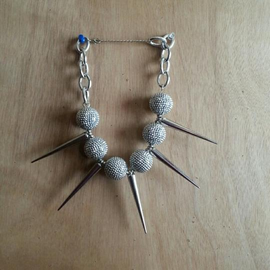 Independent Large Silver 'BALLS and SPIKES Necklace