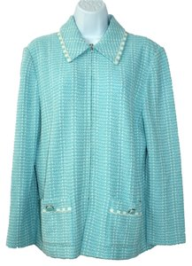St. John Collection Knit BABY BLUE/WHITE Blazer
