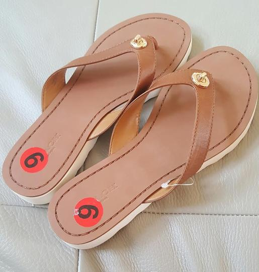 Coach Thong Flipflop Leather Brown tan Sandals