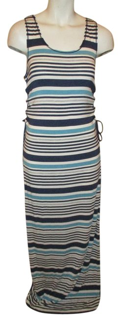 navy, white, green & grey strip Maxi Dress by Max Studio Knit Tank