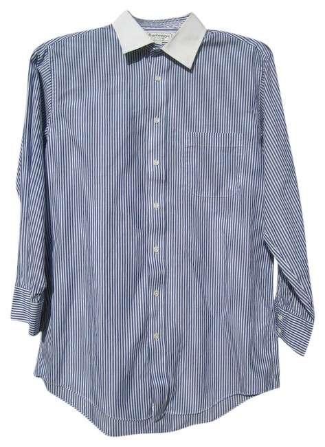 Item - Blue and White Striped Slim Casual Men's Size 16-32 Shirt