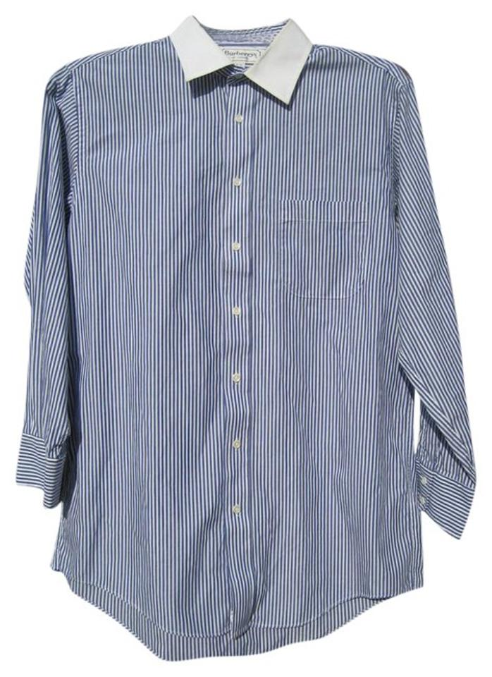 Burberry London Blue And White Striped Slim Casual Men S Size 16 32 Shirt