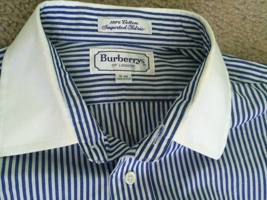Burberry London Blue and White Striped Slim Casual Men's Size 16-32 Shirt