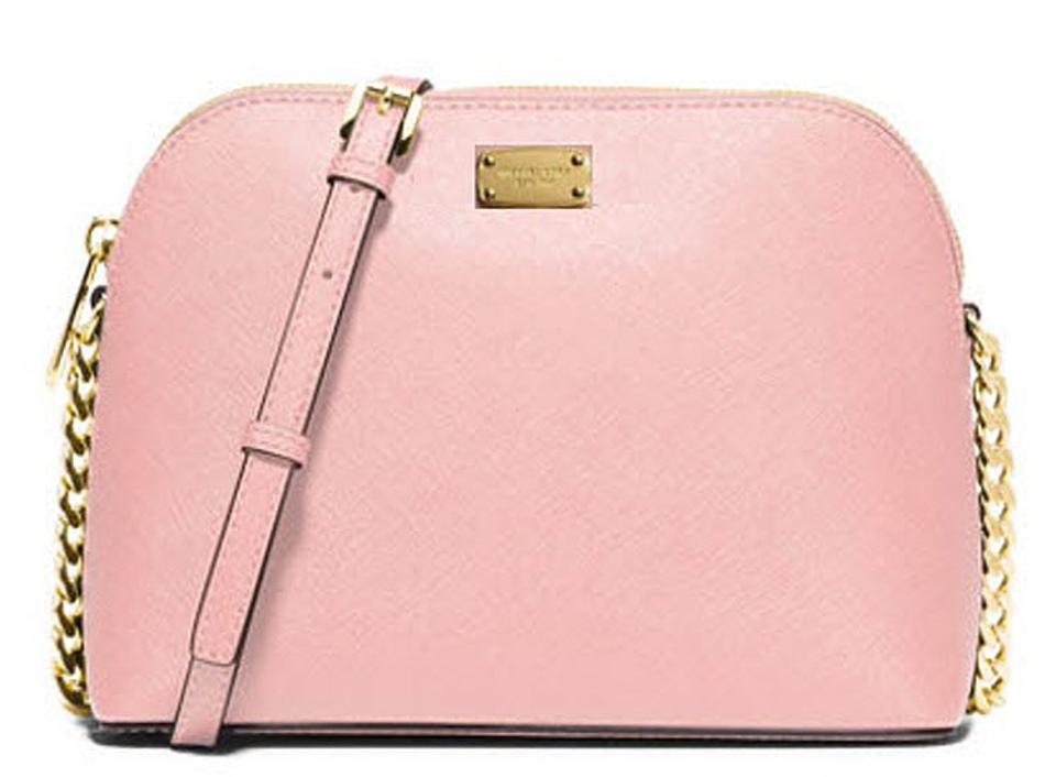 713d0526f2f8 Michael Kors Cindy Large Dome Brown Purse Blossom Pink Gold Pvc ...