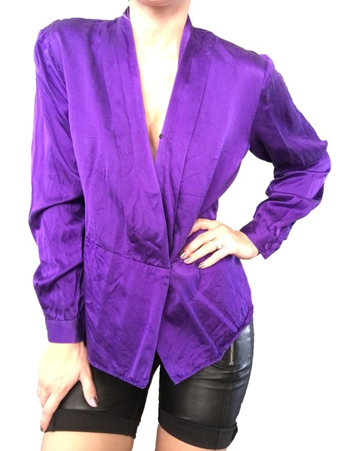 Nolan Miller Silk Deep V Neck Silky Top Purple