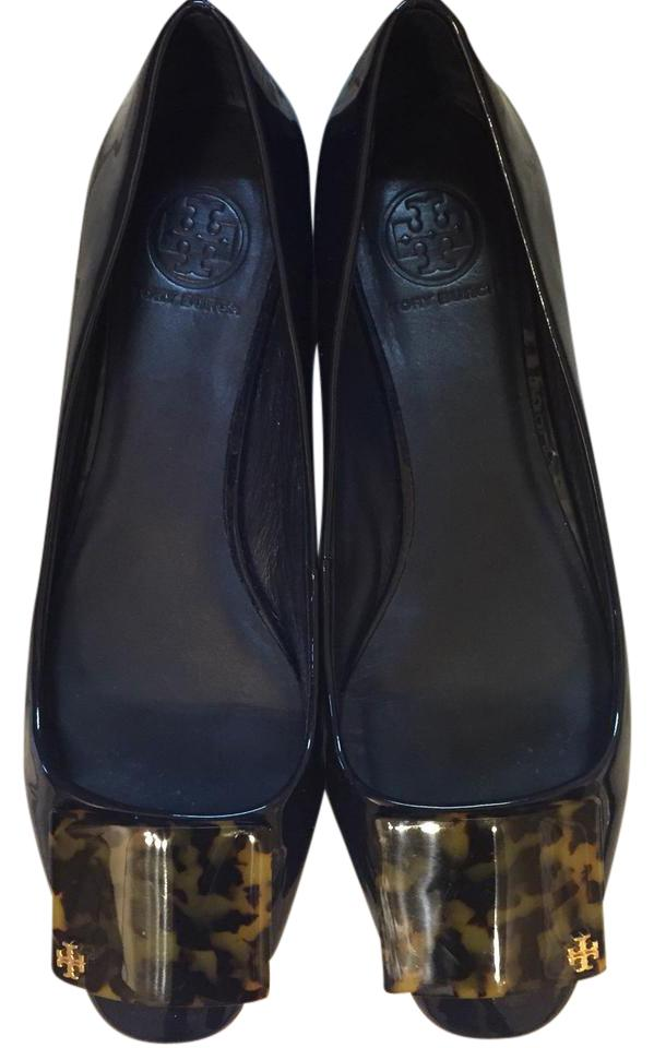 Tory Leather Burch Midnight Blue Patent Leather Tory with Tortoise Square Toe Accent Lennox Flats 41dc72