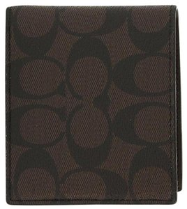 Coach C-Series Men's Double Billfold Wallet NWT Mahogany Brown Logo 75083