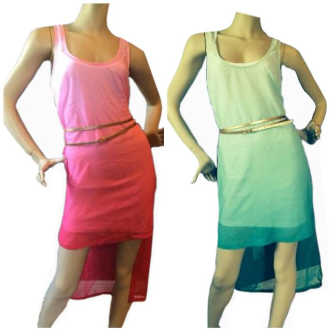 Preload https://img-static.tradesy.com/item/21543708/guess-turquoise-women-s-pink-sheer-layered-hi-low-summer-mid-length-short-casual-dress-size-8-m-0-0-650-650.jpg