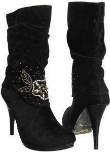 Independent Clothing Co. Suede Embellished Black Boots