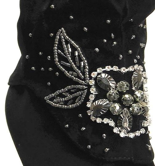 Independent Clothing Co. Suede Embellished Rhinestone Crystal Heels New Black Boots