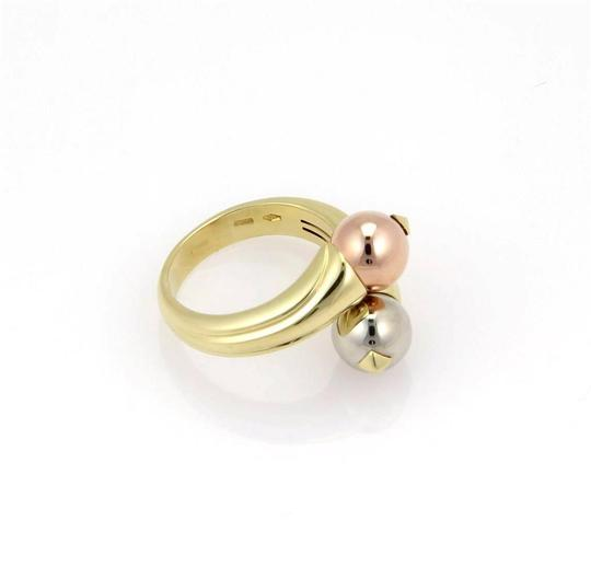 BVLGARI Bulgari 18K Tri Color Gold Fancy Ball Bypass Ring - Size 5.5