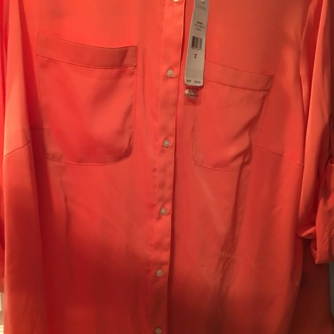 Ralph Lauren Plus Sized Blouse Button Down Shirt orange