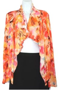 Fuzzi Front Shawl Collar Top ORANGE