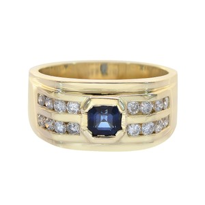 Avital & Co Jewelry 0.65ct Round Cut Diamonds 0.75ct Princess Cut Sapphire Men Ring 14K YG