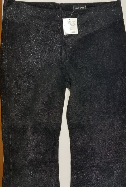 bebe Suede Glitter Boot Cut Pants Black