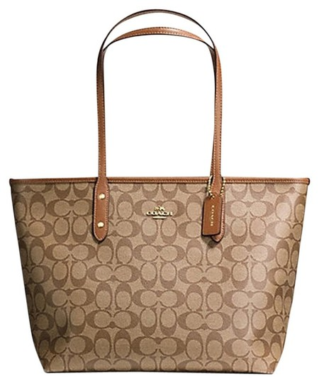 Preload https://item3.tradesy.com/images/coach-city-zip-top-singture-f-37153-36876-brownkhaki-saddle-leather-trim-tote-21544017-0-0.jpg?width=440&height=440