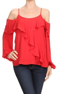 Vava by Joy Han Cold Shoulder Joan Top red
