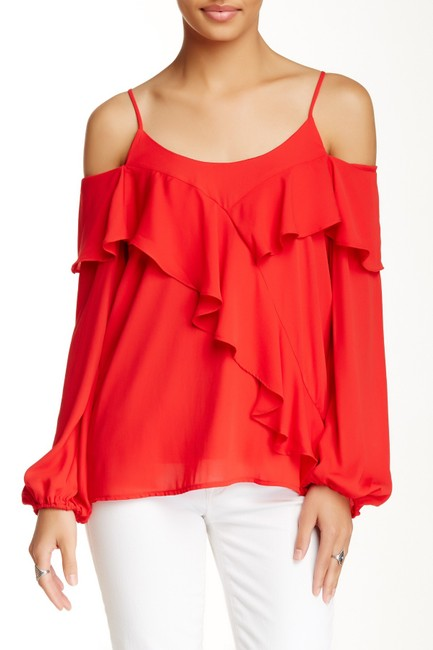 Vava by Joy Han Cold Shoulder Top red